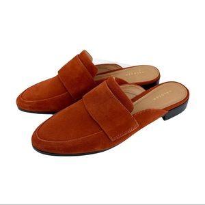 Halogen Violet Rust Suede Low Heeled Mule Loafer
